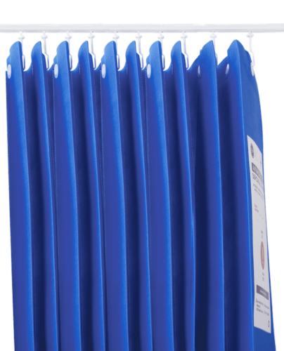 Medical blue curtains cut off